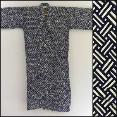 Authentic Japanese cotton nemaki for men, dressing gown, large, with belt(O2032)