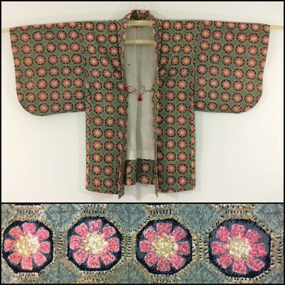 Japanese haori jacket for women, for kimono, pink & green, with himo (AN2184)