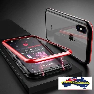 Magnetic Metal Frame Tempered Glass Back Slim Case Cover iPhone X XS XS Max XR