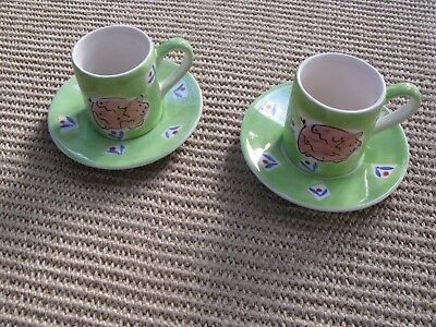 Character Pig- Whittard Espresso Cups and Saucers hand painted in Thailand