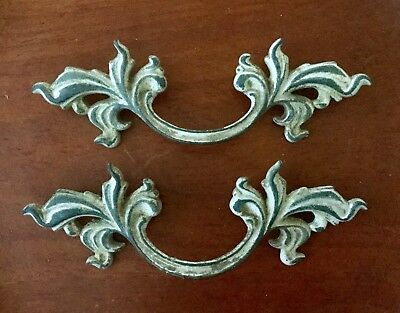 Vintage Pair, Salvaged Brass Furniture Pulls, French Provincial Hardware P 1751