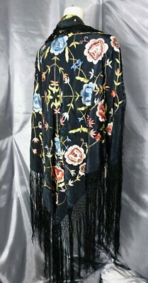 Vintage 1920's silk shawl, floral embroidered, piano shawl, long fringing