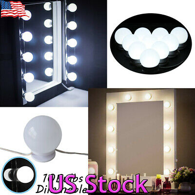 10Pcs Makeup Mirror Vanity LED Light Bulbs Lamp Kit 3 Levels Adjustable Lighted