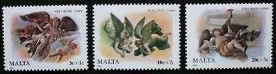 Christmas stamps, angel, cherub, 1989, Malta, SG ref: 860-862, 3 stamp set, MNH