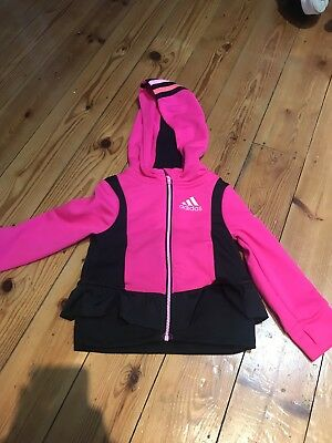 Adidas Girls Pink Zip Up Hoody With Frill Age 2 Years