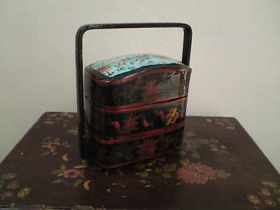 Antique Chinese Lacquer Stacking Box With Famille rose fragment Porcelain Inset