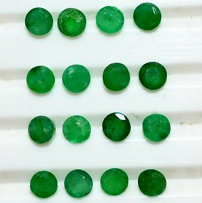 Natural Emerald Round Cut 3.25 mm Lot 16 Pcs 2.42 Cts Untreated Loose Gemstones
