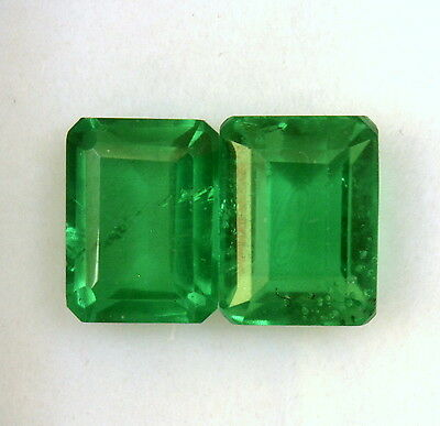 Emerald Color Doublet Octagon Cut Pair 8x6 mm 3.63 Cts Green Loose Gemstones