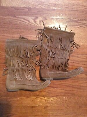 ebfae4daef Steve Madden Fringed Boots Suede Leather Tan Takoda Flat Moccasins Women 10M