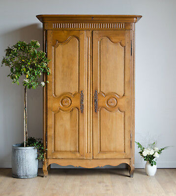 French Antique 19th Century Golden Oak Knockdown Armoire Wardrobe Linen Press