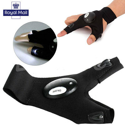 Flashlight LED Fingerless Gloves Torch Camping Fishing Magic Strap Survival Tool