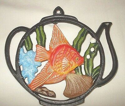 Tropical Goldfish Tea Pot Painted Metal Cast Iron Trivet Kitchen Home Decor