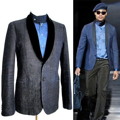 Giorgio Armani RUNWAY Denim-Velvet Tuxedo Blazer two buttons Sz.US 42-T 52