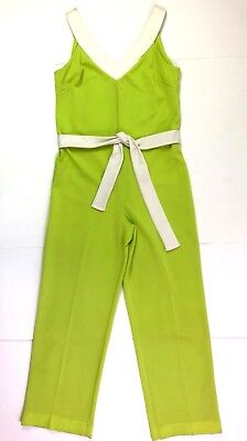 Vanity fair 70s sleevelss jump suit wide leg belted lime green cream size 14