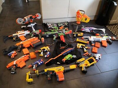 Job Lot Of Over 20 Nerf Guns And Accessories