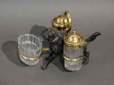 Unusual Antique French Spelter dog salt pepper shaker mustard set rare 1920