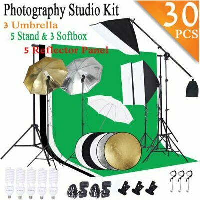 Photo Studio Photography Lighting Kit Umbrella Softbox Backdrop Stand Set 30pcs