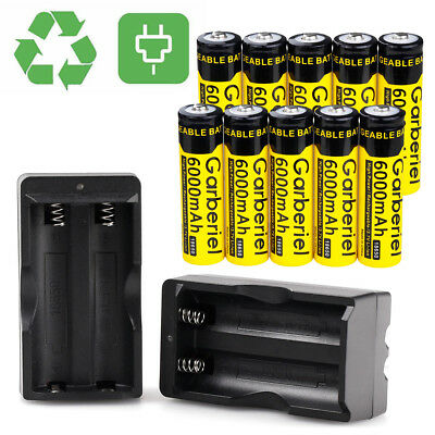Lot Garberiel 18650 BRC 6000mAh Li-ion 3.7V Rechargeable Battery for led Torch