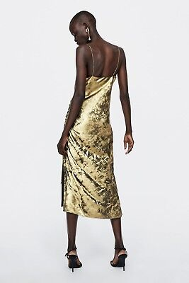 Zara Gold Wrap V-Neck Belted Metallic Thread Mini Dress With 3/4 Sleeve 8573/571