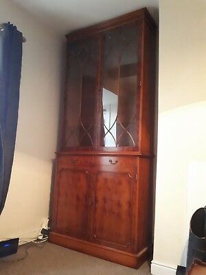 A Large Yew Wood Georgian Style Astral Glazed Bookcase / Display Cabinet.