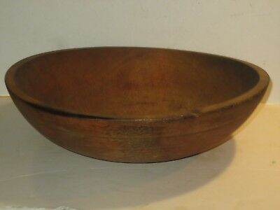 Large Antique Wooden Dough Bowl With Turned Rim Natural Patina