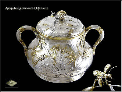 Ed. TETARD - Antique French Sterling Silver & Vermeil Sugar Pot - Snail & Insect