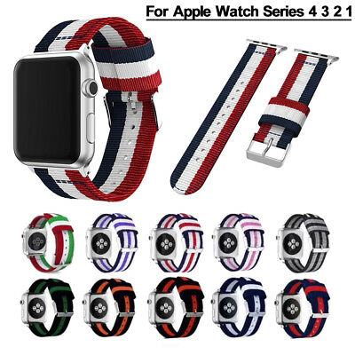 40/44mm Nylon Sport iWatch Band Stripe Flag Strap for Apple Watch Series 4 3 2 1