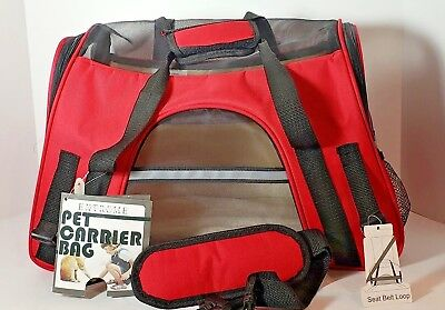 OxGord Extreme Lrg Soft Side Pet Carrier Bag Up to 10 Lbs Airline Compliant Red