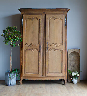 French Antique 19C Light Oak Knockdown Armoire Wardrobe with Hanging Rail