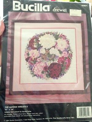 BUCILLA Crewel Embroidery Kit GARDEN WREATH II  New In Package