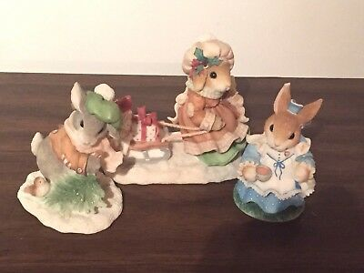 3 MY BLUSHING BUNNIES 1996 NRMINT* Wintertime Blessings ENESCO Tea With You ++++