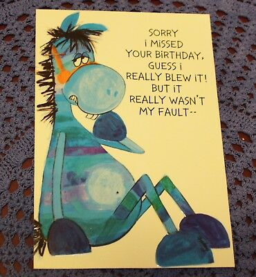 Vintage BELATED BIRTHDAY Greeting Card Humor Horse Donkey