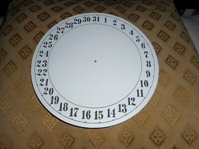 "Round Paper Clock Date Dial-7 1/2"" M/T- Arabic - Matt White -Face/Parts/Spares"
