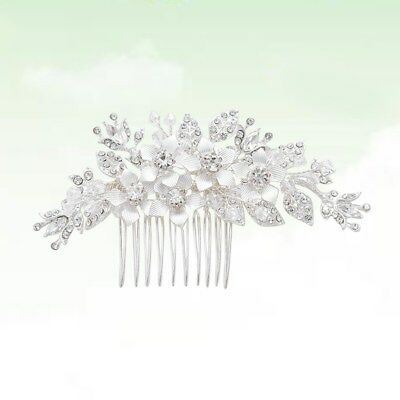 1pcs Bride Hair Combs Flower Leaf Shiny Crystal Hairpin Headdress for Engagement