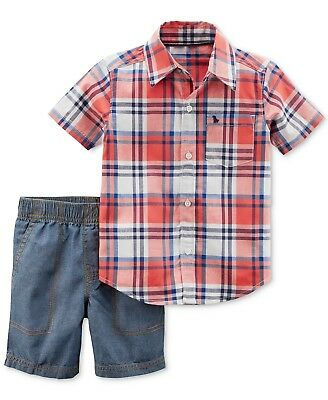 Carter's Baby Boys 2 Pc Button Front Top Chambray Short Set NWT [Choose Size]