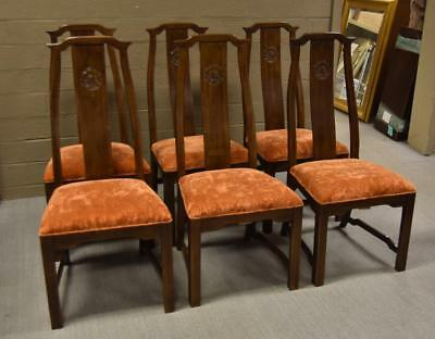 Six Asian Style High Back Dark Stained Pecan Frame Chairs Davis Furniture