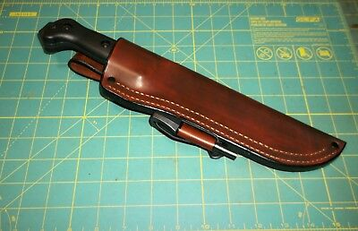 Ka-bar/ Becker BK7, Custom Leather Belt Sheath USA Made RH + Ferro Rod, No Knife