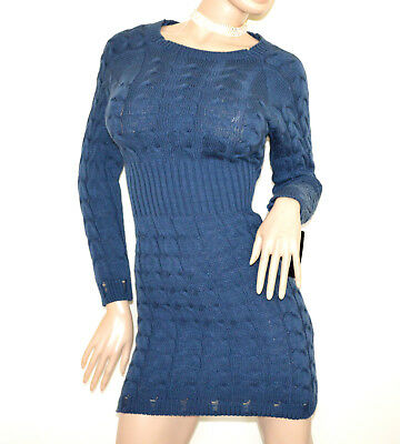 77abe768312 Robe BLEU femme manches longue laine tricot chandails pullover made en Italy  G65