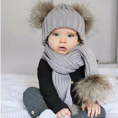 Baby Kids Winter Warm Knitted Fur Ball Crochet Beanie Hat Cap Scarf Set N7