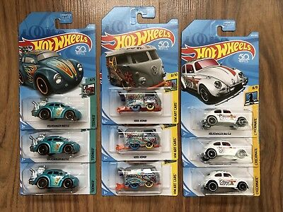 Lot of 9 2018 Hot Wheels VW Volkswagen Kool Kombi & Checkmate Beetle & Tooned