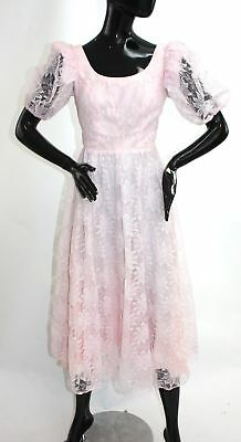 1980s Pretty in Pink lace puff sleeve party dress Molly Ringwald