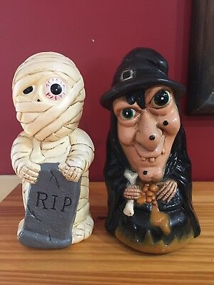 Dynagood Halloween Blow Mold Pathway Light Covers Witch Mummy Plastic 9""