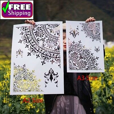 A3 A2 Size DIY Craft Layering Mandala Stencils For Walls Painting Scrapbooking