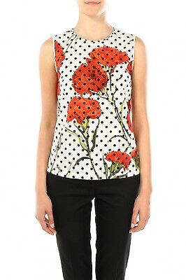 29e47f9cf8 Dolce Gabbana Polka Dot Carnation Print Cotton Poplin Top Size 46(It) New   675