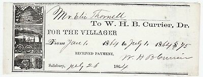 RARE Receipt Signed W H B Currier - Villager Newspaper Salisbury MA 1864