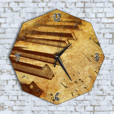 Grunge Piano Keys Vintage Home Office Kitchen Kids Living Room Decor Wall Clock