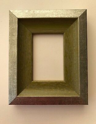 NEW Quality wooden ACEO Art/sports card 3.5 x 2.5 green/silver picture frame