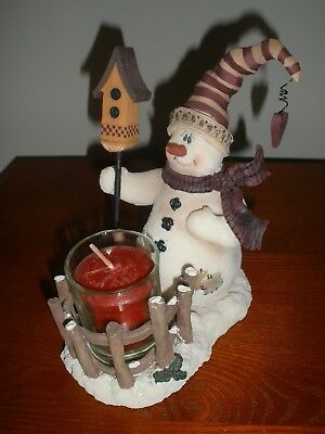 Crazy Mountain Exclusive Designs Heavy SNOWMAN Figure Candle Holder with Candle
