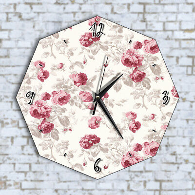 Vintage Flowers Floral - Home Office Kitchen Kids Living Room Decor Wall Clock