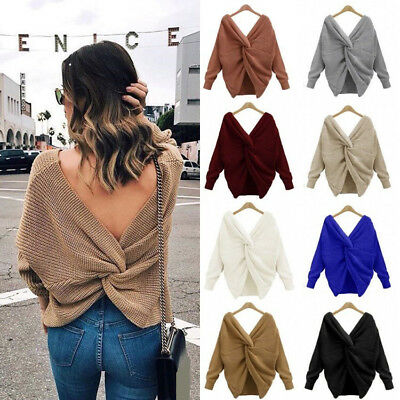 Women Twist Knot V-neck Sweater Ladies Backless Long Sleeve Pullover Jumper Tops